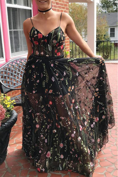 Spaghetti Straps V Neck Black Lace A Line See Through Prom Dress Evening Formal Dresses LD1541