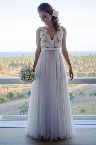 A Line Lace Tulle V Neck See Through Back Long Wedding Dress Bridal Dresses LD1543