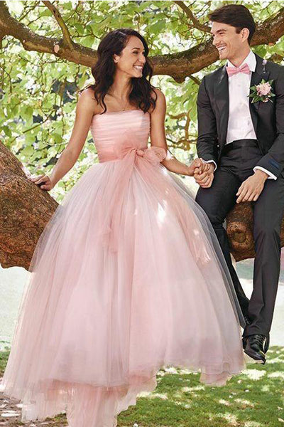 Pink Strapless Neckline A Line Princess Tulle Outside Wedding Dress Bridal Dresses LD1547