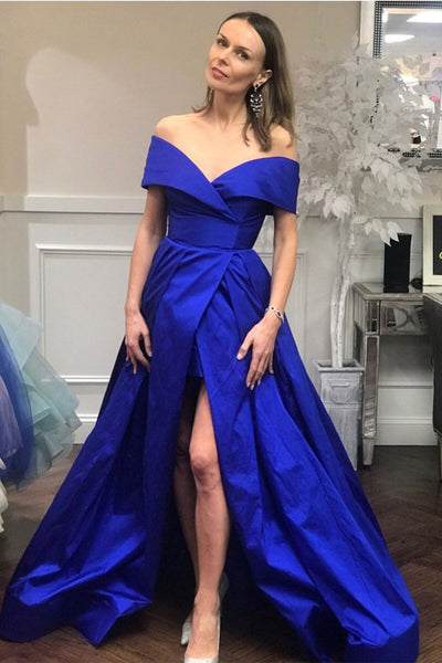 Fashion Off the Shoulder Royal Blue Front Slit Prom Dresses Evening Formal Dress LD1154