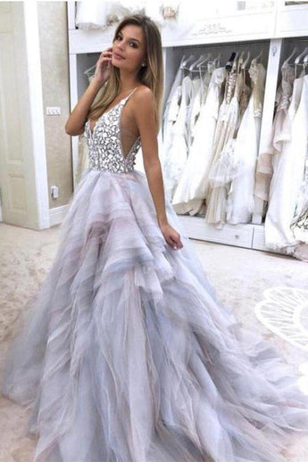 Gorgeous V Neck Backless Crystal Beaded Tiered Wedding Dresses Bridal Gown Dress LD1554