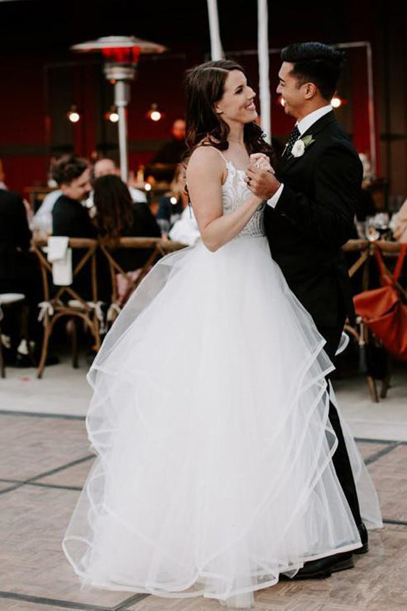 Ivory Lace Tulle Ball Gown Plus Size High Low Outside Wedding Dresses  Bridal Dress LD1555 - US0 / Picture color