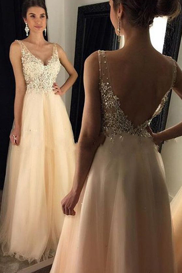 Fashion V Neck Off Shoulder Lace Backless Prom Dress Evening Gowns LD155