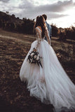 A Line Long Sleeves Lace Chapel Train Romantic Wedding Dresses Bridal Gown Dress LD1561