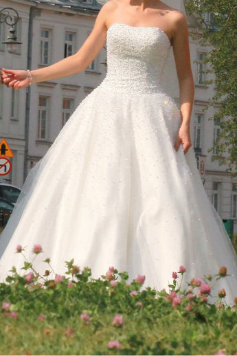 Ball Gown Stapless Tulle Pearls High Quality Ivory Wedding Dresses Bridal Dress LD1564