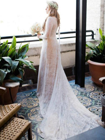 Long Sleeves Ivory Lace Cathedral Train Fashion Wedding Dresses Bridal Dress LD1565