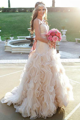 A Line Sweetheart Neckline High Low Tiered Skirt Wedding Dresses Bridal Dress With Sash LD1567