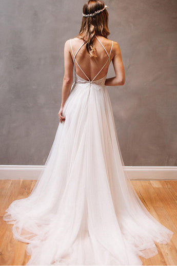 Gorgeous A Line Open Back Spaghetti Straps Wedding Dresses Bridal Dress With Beaded Belt LD1569