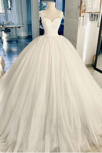 Ball Gown Sweetheart Lace Appliques Ivory Pluffy Bodice Wedding Dresses Bridal Dress LD1573