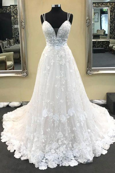 A Line Spaghetti Straps Lace Ivory V Neck High Quality Wedding Dresses Bridal Gown Dress LD1574