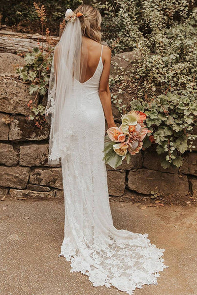 Sexy Open Back Spaghetti Straps Mermaid Ivory Lace Split Wedding Dress Bridal Dresses LD1576
