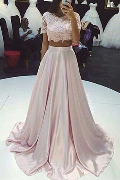 Short Sleeves 2 Piece Pink Lace Long Evening Gowns Prom Dress LD157
