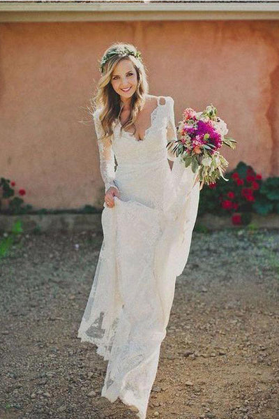 Fashion V Neck Long Sleeves Ivory Lace Mermaid Wedding Dresses Bridal Dress LD1585