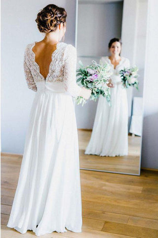 A Line 3/4 Long Sleeves V Neck Ivory Lace Floor Length Wedding Dresses Bridal Dress LD1588