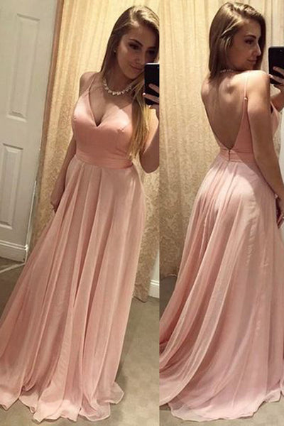 V Neck Spaghetti Straps Open Back Pink Long Evening Prom Dress LD158
