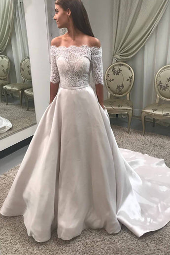 A Line Half Sleeves Off the Shoulder Lace Satin Wedding Dresses Bridal Dress LD1590