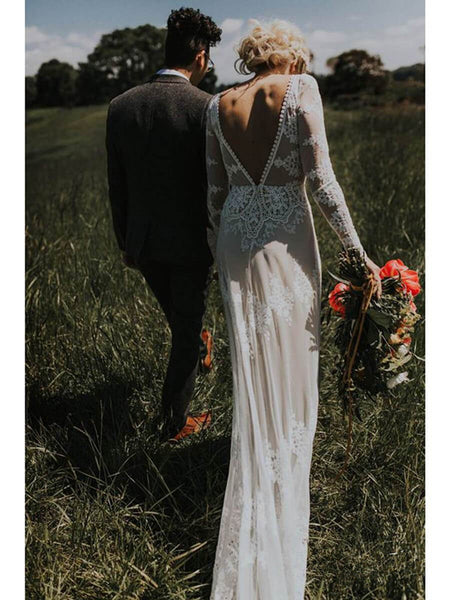 Lace Appliques Open Back Long Sleeves Sheath Ivory Wedding Dress Bridal Dresses LD1593