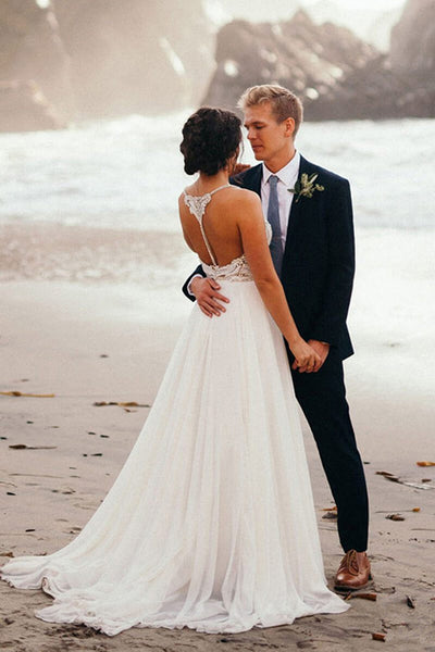 Open Back V Neck Spaghetti Straps Beach Beaded Wedding Dress Bridal Dresses LD1594