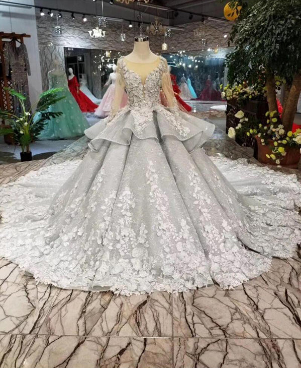 e93bc498888 Chic Long Sleeves Grey Lace See Through Ball Gown Bridal Wedding Dress –  Laurafashionshop