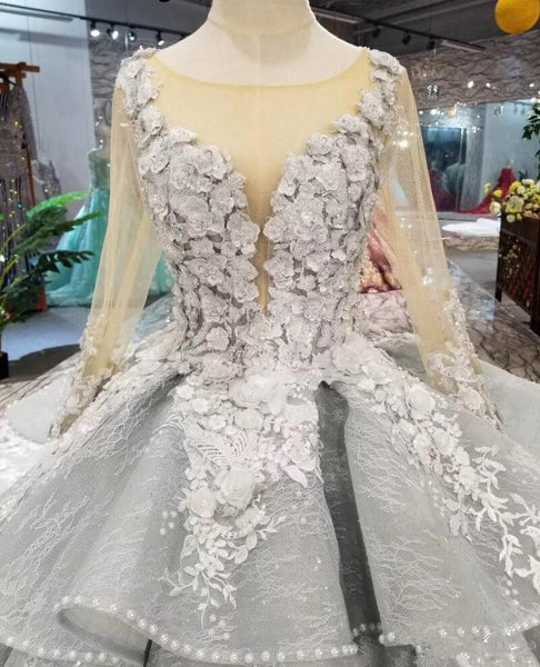 Chic Long Sleeves Grey Lace See Through Ball Gown Bridal Wedding Dresses Quinceanera Dress LD1595