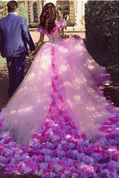 Luxurious Off the Shoulder Ball Gown Hand Flowers Pink Wedding Dresses Prom Quinceanera Dress LD1596