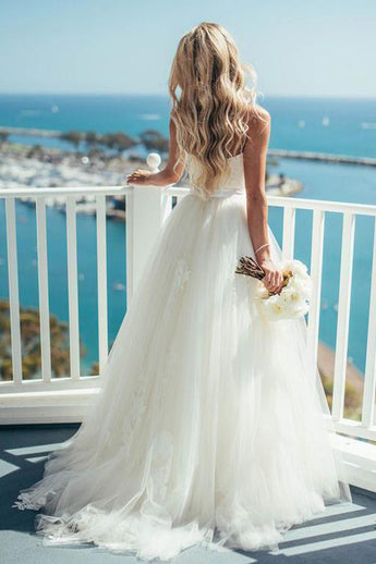 A Line Spaghetti Straps Appliques Ivory Princess Wedding Dresses Bridal Gown Dress LD1597