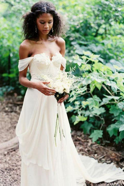 Fashion Off the Shoulder A Line Ivory High Low Tiered Wedding Dresses Bridal Dress LD1600