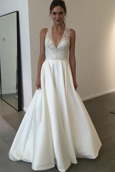 Fashion V Neck A Line Lace Ivory Satin See Through  Wedding Dresses Bridal Gown Dress LD1601