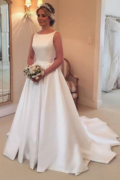 A Line Princess Open Back Ivory Satin Chapel Train Wedding Dresses Bridal Gown Dress LD1602