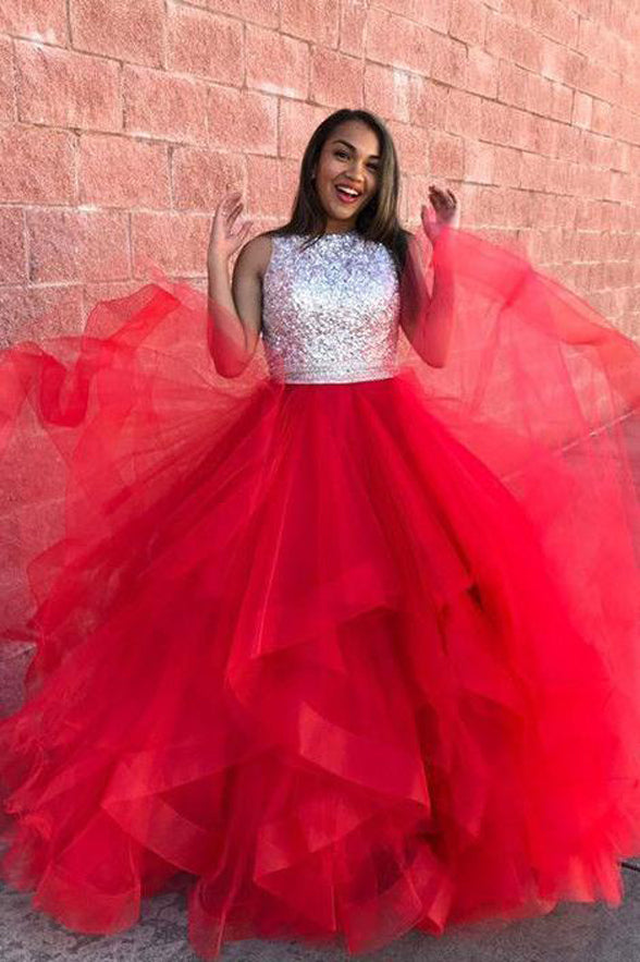 ce84b72c40 Open Back High Neck High Low Tiered Fluffy Skirt Red Prom Dresses Evening  Dress LD1607 - US0 / Picture color