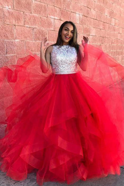 Open Back High Neck High Low Tiered Fluffy Skirt Red Prom Dresses Evening Dress LD1607