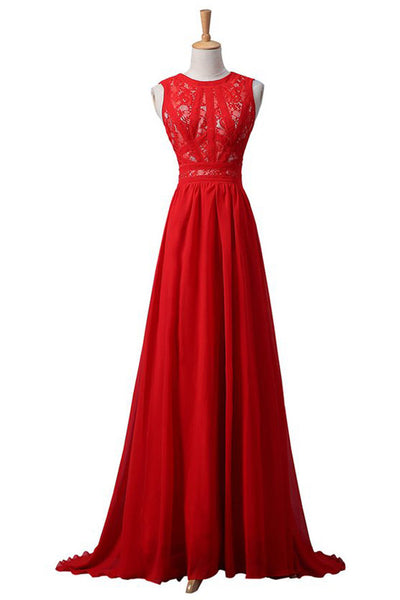 Red Chiffon Lace High Neck Elegant Long Prom Dress Evening Gowns LD160
