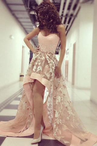 13a3cff3bc1 New Arrival Pink Lace Front Short Long Back Hi Lo Prom Dresses Evening –  Laurafashionshop