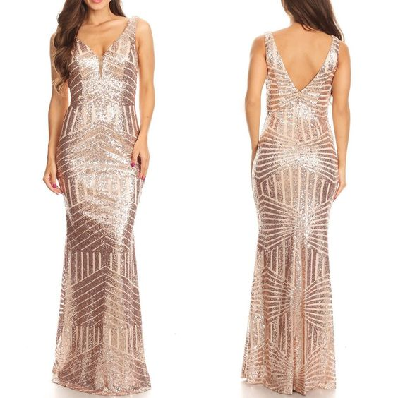 Fashion V Neck Rose Gold Sequin Mermaid Long Prom Dresses Evening Dress Gowns LD1615