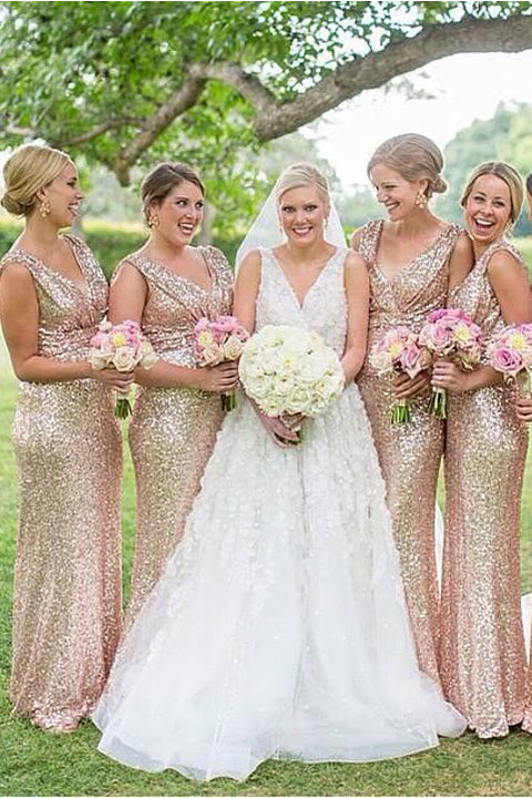 Shiny Rose Gold Sequin Mermaid Long Wedding Bridesmaid Dresses Prom Formal Dress LD1617