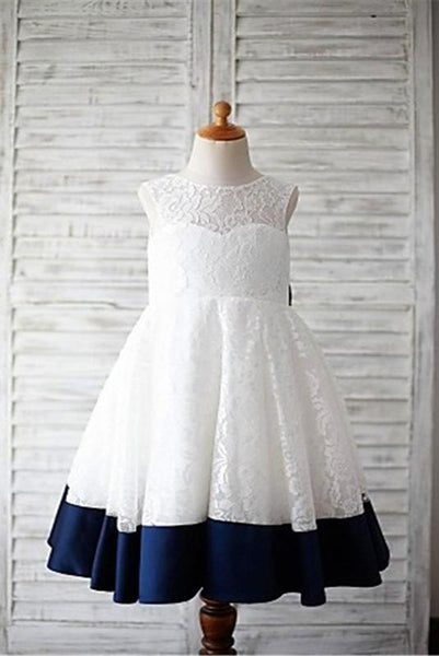 White Lace Navy Blue Saah Bow Flower Girl Dresses Cheap Kids Dress LD1619