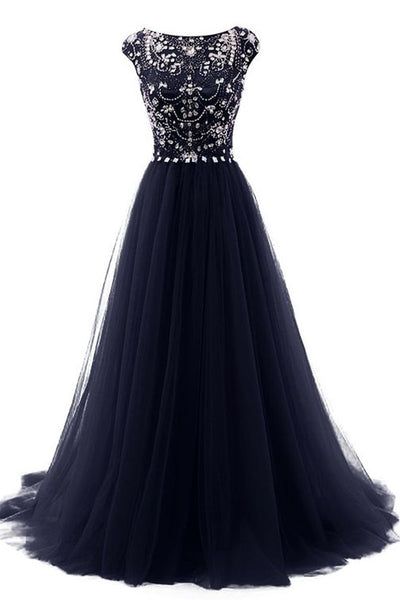 Navy Blue Cap Sleeves Crystal Back V Long Prom Dresses Evening Gowns LD161