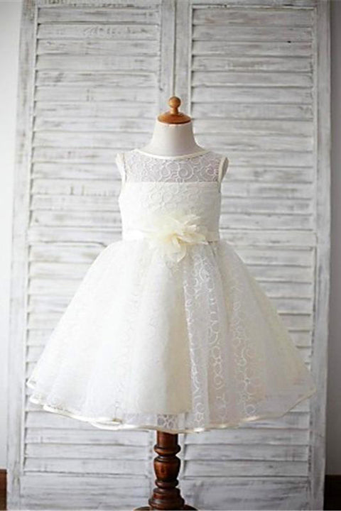 Cute Lace Dress Hand Flowers Sash Flower Girl Dresses Cheap Kids Gowns LD1620