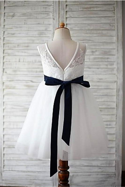 Simple V Neck Ivory Lace Long Flower Girl Dresses With Navy Blue Sash Kids Gowns LD1622