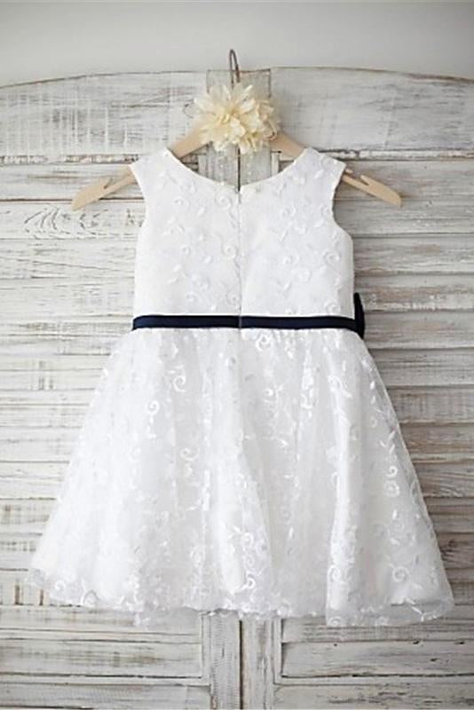 Fashion Ivory Lace Long A Line Cheap Flower Girl Dresses Kids Dress With Sash Ld1624 Child 2 Picture Color