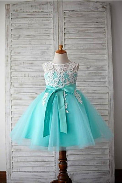 White Lace Mint Tulle Cute Dress Flower Girl Dresses Kids Gowns With Sash LD1625