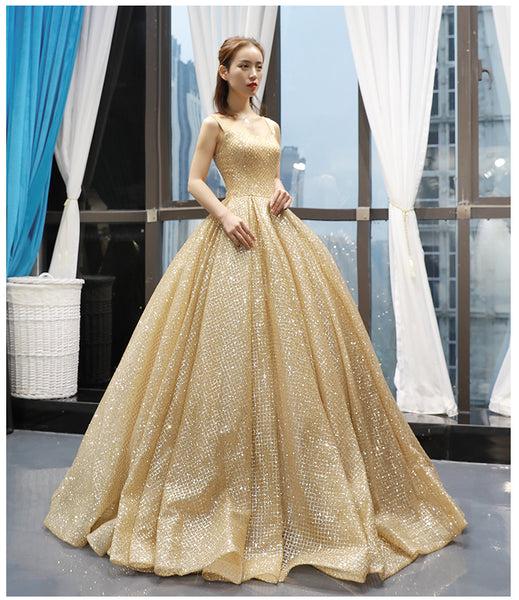 New Design Shiny Sequin Ball Gown Straps Prom Dresses Evening Quinceanera Dress LD1626