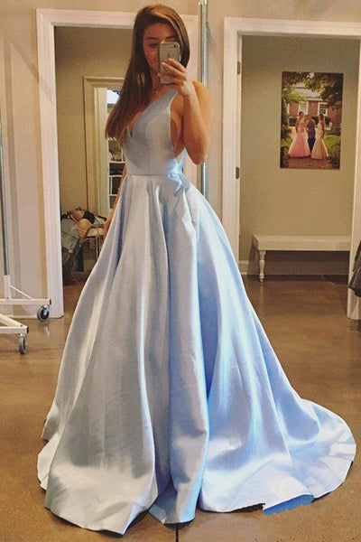 Elegant V Neck Open Back Light Blue Long Prom Dresses Evening Graduation Dress LD1630