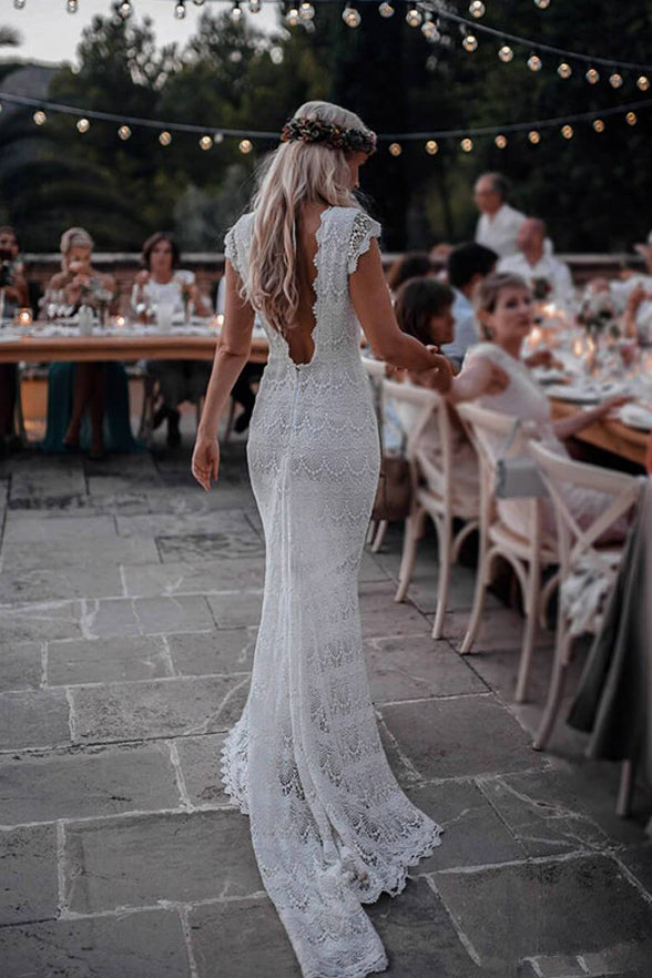 Sexy Open Back Cap Sleeves Lace Mermaid Long Wedding Dresses Bridal Dress Gowns Ld1632 Us0 Picture Color
