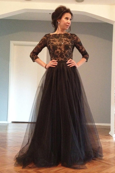 3/4 Long Sleeves Black Lace Open Back Prom Dress Evening Gowns LD163