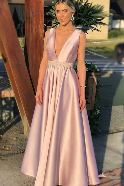 Fashion A Line Deep V Neck Pink Beaded Open Back Prom Dresses Evening Formal Dress LD1640