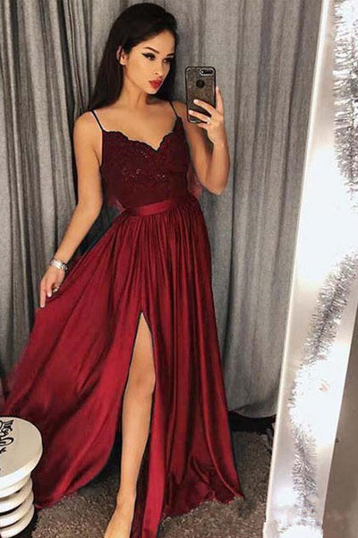 Chic Spaghetti Straps Burgundy Lace Appliques Split Prom Dresses Evening Formal Dress LD1642