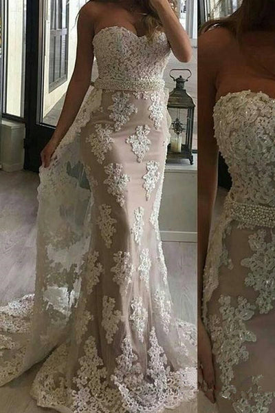 Strapless Ivory Lace Mermaid Chapel Train Prom Dresses Evening Formal Dress With Bead Belt LD1645