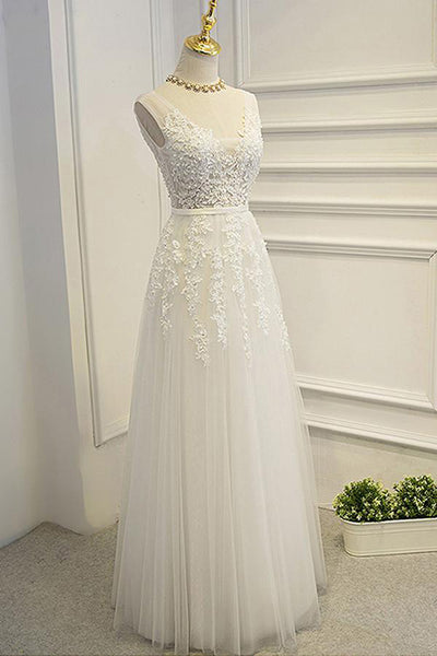 Open Back A Line Floor Length High Quality Lace Appliques Bridal Wedding Dresses Prom Dress LD1647