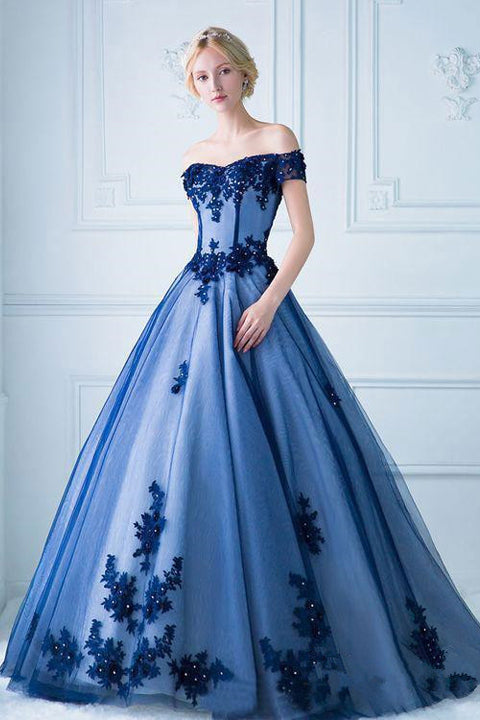 Off the Shoulder Short Sleeves Ball Gown Lace Blue Prom Dress Formal Quinceanera Dresses LD1648